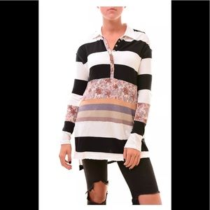 Free People Eloise striped  Long sleeve tunic/Polo